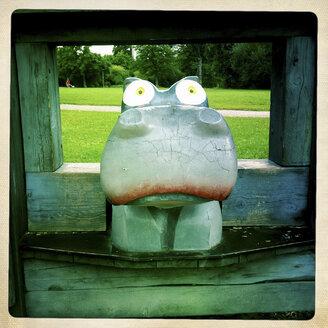Hippo on a playground, wooden figure, Westpark, Munich, Bavaria - GSF000659