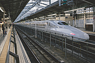Japan, Osaka, Shin-Osaka Station, platform with bullet train - FL000369