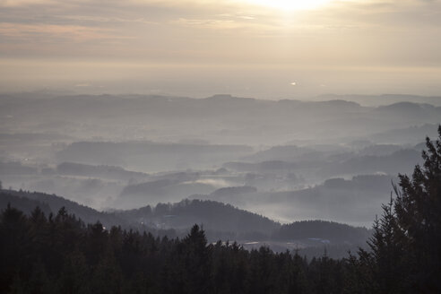 Germany, Bavaria, Sankt Englmar, View above Bavarian Forest - SBDF000434