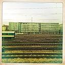 Train, tracks, office buildings, Hackerbrucke, Munich, Bavaria, Germany - GS000736