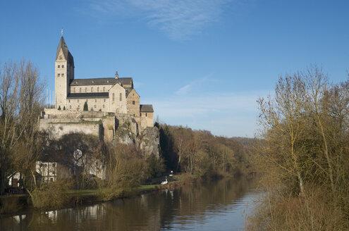 Germany, Hesse, Limburg, Dietkrichen, St. Lubentius at Lahn river - MHF000264