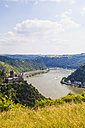 Germany, Rhineland Palatinate, St. Goarshausen, View of Katz Castle with Rhine River - WDF002170