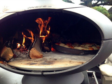 Furnace with fire and pizza plate, Switzerland, Thurgau, Bottighofen - JEDF000075