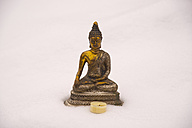 Germany, Bavaria, Allgaeu, Oy Valley, Bhumispara Mudra, Buddha figure in snow - WGF000207