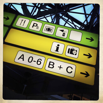 Signs at the airport. Berlin Tegel, Germany - ZM000100