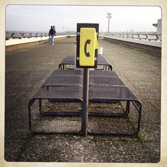 Yellow emergency phone. Visitors roof terrace Berlin Tegel, Germany. - ZM000107