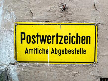 Sign Postwertzeichen, Germany, Mecklenburg-Vorpommern, Ratzeburg - JED000097