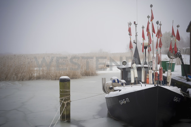 Germany, Mecklenburg-Western Pomerania, Ruegen, Gager, Fishing boat in frozen water - MJ000669
