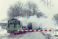 Germany, Mecklenburg-Western Pomerania, Ruegen, Steam train Rasender Roland in winter - MJ000596