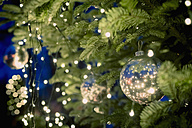 Christmas tree with baubles and fairy lights - MJF000601