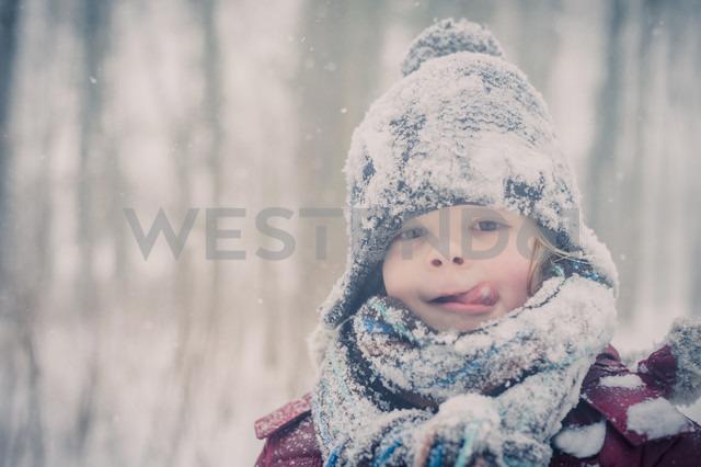 Boy in snow, portrait - MJF000608