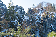 Germany, Saxony, Saxon Switzerland, Bastei in winter - MJF000733