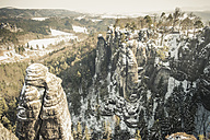 Germany, Saxony, Saxon Switzerland, Bastei in winter - MJF000735