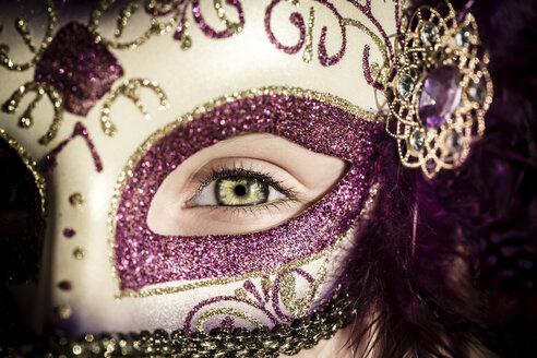 Germany, Girl wearing Venecian carnival mask - SARF000202