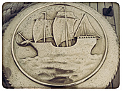 Germany, Hamburg, harbor, symbol of Amerigo Vespucci, Italyisches sail training ship - KRP000185