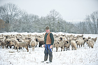 Germany, Rhineland-Palatinate, Neuwied, shepherd and his flock of sheep standing on snow covered pasture - PAF000294