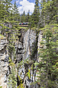 Canada, Alberta, Rocky Mountains, Jasper National Park, view to pedestrian bridge at Maligne Canyon - FOF005622