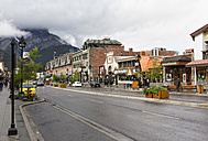 Canada, Alberta, Rocky Mountains, Banff National Park, Banff, view to main road - FO005611