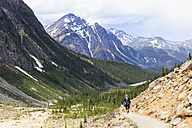 Canada, Alberta, Rocky Mountains, Canadian Rockies, Jasper National Park, Icefields Parkway, female hiker at Mount Edith Cavell and Angel glacier - FOF005638