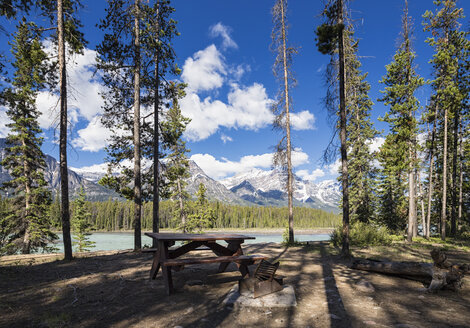 Canada, Alberta, Jasper National Park, Banff National Park, Icefields Parkway, picnic area at Athabasca River - FOF005654