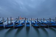 Italy, Venice, Gondolas at San Giorgio Maggiore at night - FOF005651