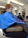 Boy at the hairdresser, Germany, Baden-Wuerttemberg, - JED000111