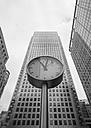 United Kingdom, England, London, Canary Wharf, Skyscrapers and clock - JB000007