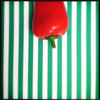 Colorful Food, Red Pepper on Green / White Striped Background - MVC000073