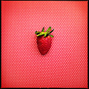 Colorful Food, Strawberry on Red polkadot background - MVC000071