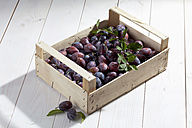 Wooden box with plums on wooden table - CSF020726