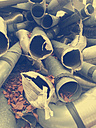 Germany, Bavaria, old exhaust pipes, scrap - LAF000467