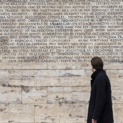 Italy, Rome, latin inscription at Ara Pacis, viewer in front - DIS000446