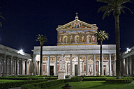 Italy, Rome, view to lighted Papal Basilica of St Paul Outside the Walls by night - DIS000433