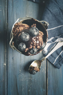 Chocolate ice cream topped with chocolate sauce in the cup, with blueberries, Studio - SBDF000485