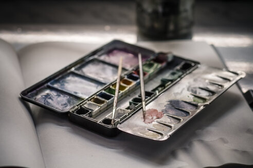 Used water colour paint box and two brushes on sketchbook - SBDF000506
