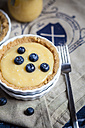 Lemon tart decorated with blueberries and glass and a fork - SBDF000496