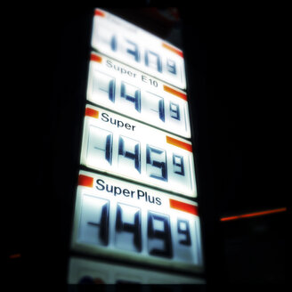 Price display at a gas station, Bielefeld, Germany - ZMF000182
