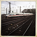 German high speed train ICE driving on Hohenzollern Bridge, Cologne, Germany - ZM000156