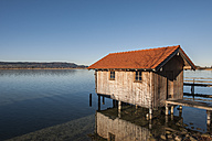 Germany, Bavaria, Upper Bavaria, View of boathouse at Lake Kochelsee - LAF000509