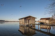 Germany, Bavaria, Upper Bavaria, View of boathouse at Lake Kochelsee - LAF000511