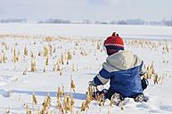 Germany, little boy having fun in snow - MJF000809