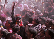 India, Uttar Pradesh, Vrindavan, people during Holi, spring festival, festival of colours - JBA000010
