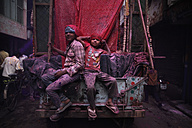 India, Uttar Pradesh, Mathura, children during parade, Holi, spring festival, festival of colours - JBA000032