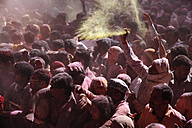 India, Uttar Pradesh, Vrindavan, people during Holi, spring festival, festival of colours - JBA000033