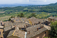 Italy, Tuscany, Val d'Orcia, View from Montepulciano - MJF000832