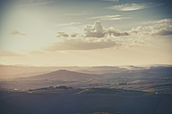 Italy, Tuscany, Val d'Orcia, Rolling landscape in twilight - MJF000862