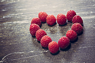 Heart formed of raspberries, studio shot - SARF000227