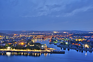 Germany, Rhineland Palatinate, Koblenz, View of German Corner in the evening - PAF000323