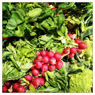 Radishes and lettuce in a French supermarket in Alsace, France, - DHL000333