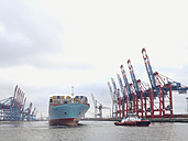 Container shipping line Maersk in Walter Hofer harbor, Hanseatic City of Hamburg, Germany - SE000467